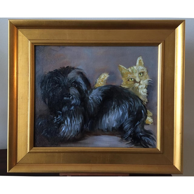 """""""Frenemies"""" Cairn Dog and Ginger Cat Painting For Sale In Saint Louis - Image 6 of 6"""