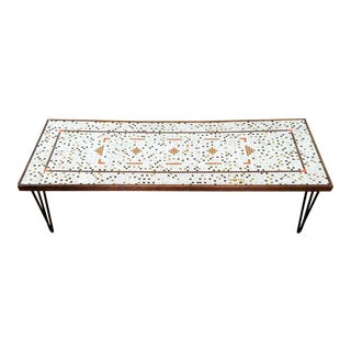 1960s Scandinavian Modern Mosaic Tile Top Coffee Table For Sale
