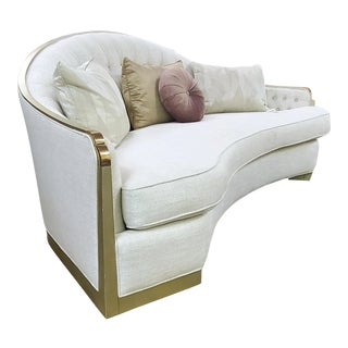 Champagne Gold Metal Trim Curved Sofa W/ Crystal Button Back For Sale