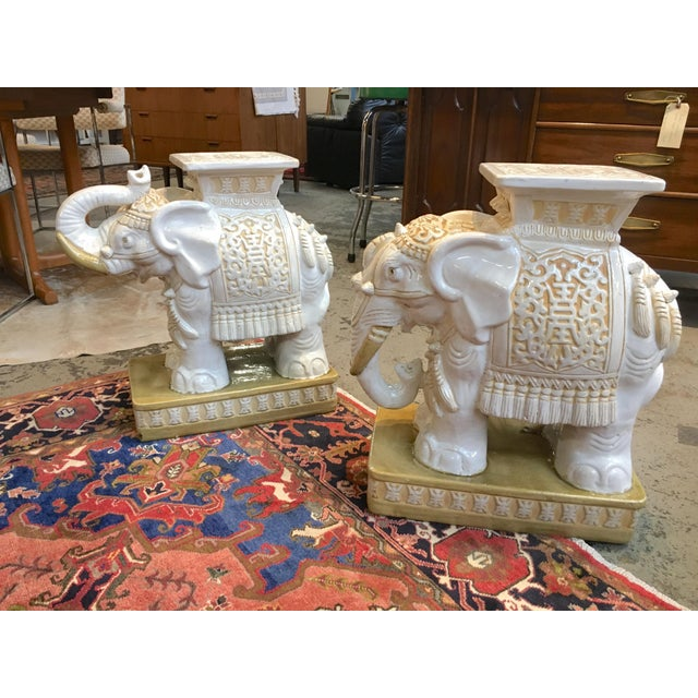 Porcelain Elephant Garden Stools - A Pair - Image 7 of 7
