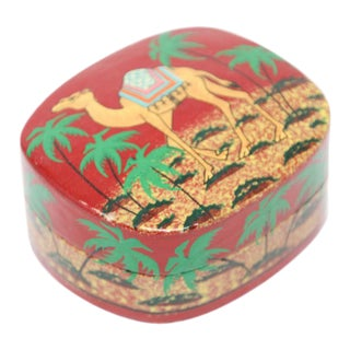Hand Painted Middle Eastern Lacquer Box with Camel For Sale