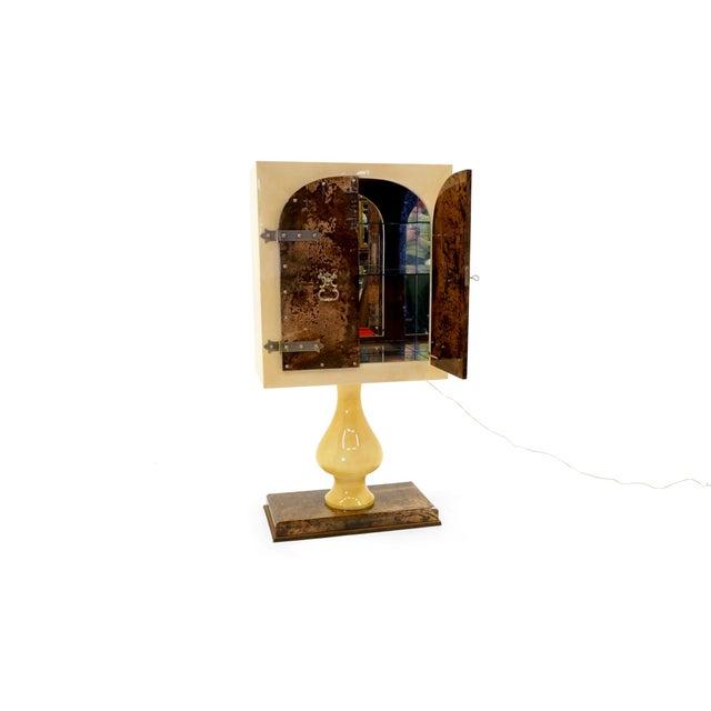Aldo Tura Stunning Aldo Tura Lighted, Locking Bar Cabinet or Liquor Cabinet For Sale - Image 4 of 12