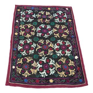 Dark Gray Floral Pattern Antique Suzani Textile For Sale