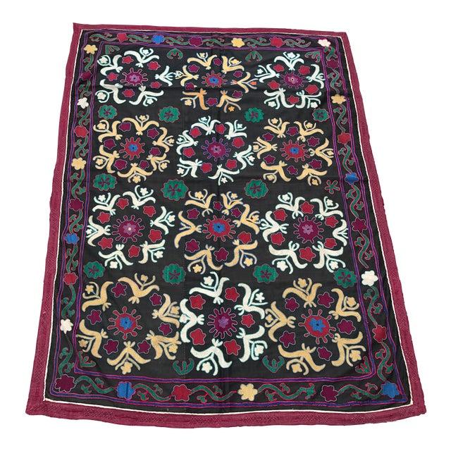 Dark Gray Floral Pattern Antique Suzani Textile - Image 1 of 6