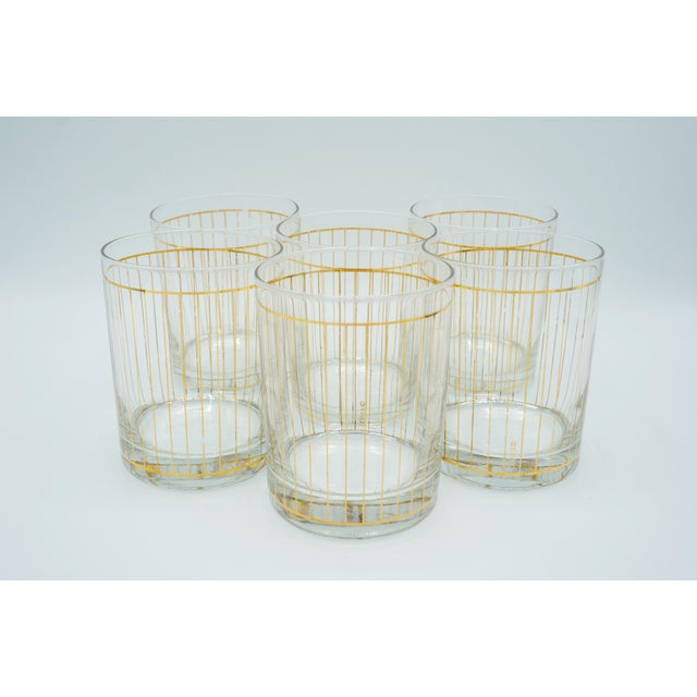 """This Unique Bar Set Features: • Six Golden Pinstriped Low Ball Drinking Glasses, Marked """"Culver."""" • A Mid Century Georges..."""