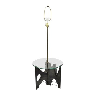 Laurel Brutalist Steel Floor Lamp With Round Glass Side End Table For Sale