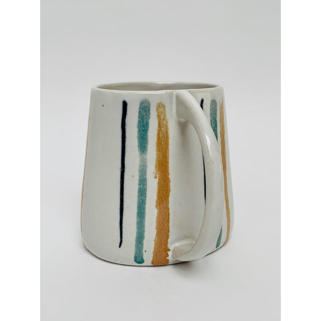 Contemporary 1960s Mid Century Modern Striped Oval Stoneware Mug From Bennington Potters For Sale - Image 3 of 13