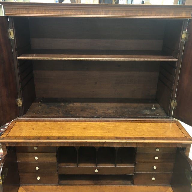 Antique 1830s English Satinwood Mahogany Butler's Desk For Sale - Image 11 of 12