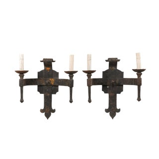 French Hand-Forged Iron Two-Light Torch Style Sconces - a Pair For Sale