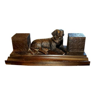 1910 Black Forest Dog Inkwell For Sale