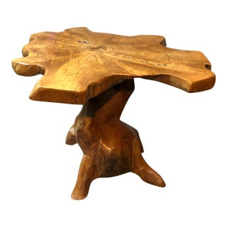 Organic Modern Amoeba Shaped Root Wood Side Table For Sale
