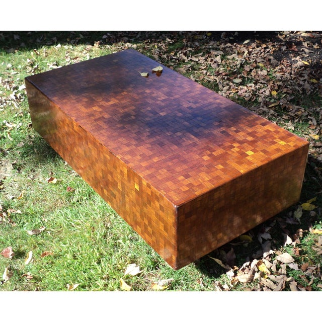 Mid-Century Modern Patchwork Wood Coffee Table - Image 6 of 11