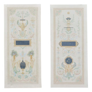 Pair of Vintage Hand-Painted Neoclassical Grecian Canvas Screens For Sale