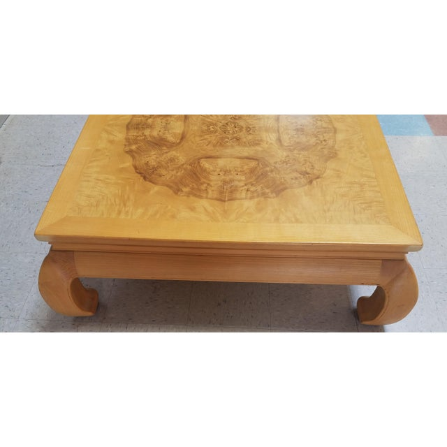 1960s Asian Ming Henredon Burl Wood Coffee Table For Sale - Image 5 of 12