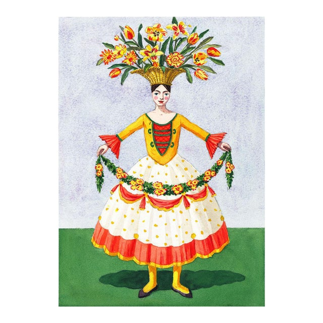 """Flower Lady With Garland"" Giclée Print For Sale"
