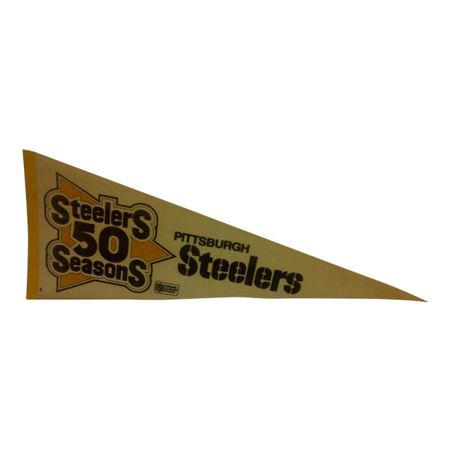 "Vintage NFL ""Steelers 50 Seasons"" Team Pennant 1982 For Sale"