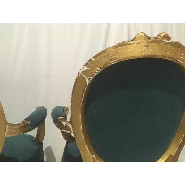 19th C. French Gilt Chairs - a Pair For Sale - Image 9 of 13