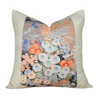Vintage Japanese Obi Floral Landscape Pillow Cover For Sale
