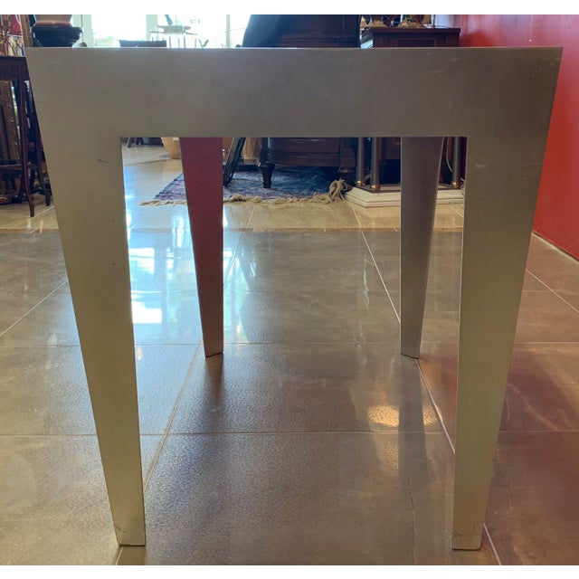 1980s Vintage Silver and Gold Leaf Accent Tables- A Pair For Sale - Image 10 of 13