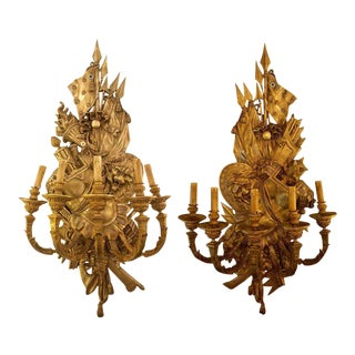 19th Century Opposing Figural Bronze Monumental Five Light Wall Sconces - a Pair