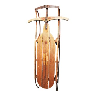 Vintage Weathered Rustic Wooden Sled