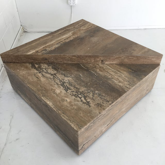 Stone Italian Two Triangular Offset Stone Coffee Table - 2 Pieces For Sale - Image 7 of 13