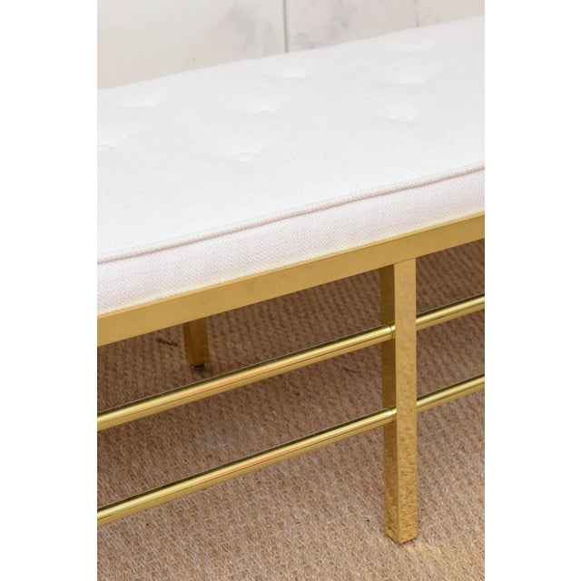 Stunning Tommi Parzinger Style Solid Brass and Upholstered Rare Modernist Bench - Image 5 of 9