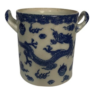Blue & White Porcelain Dragon Cachepot For Sale