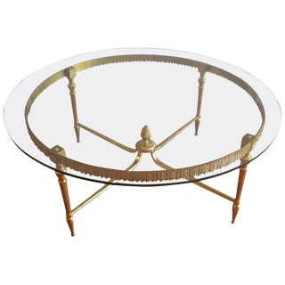 Round Coffee Table From France, Brass Frame With Pine Cone a Base, Glass Top. For Sale
