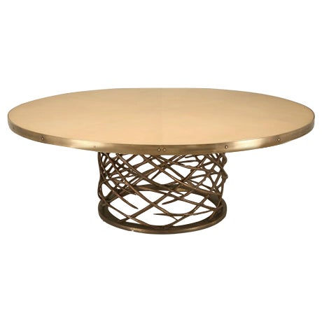 Custom-Made Woven Solid Bronze Table Base For Sale