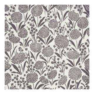 Sample - Schumacher Chrysanthemum Wallpaper in Carbon For Sale