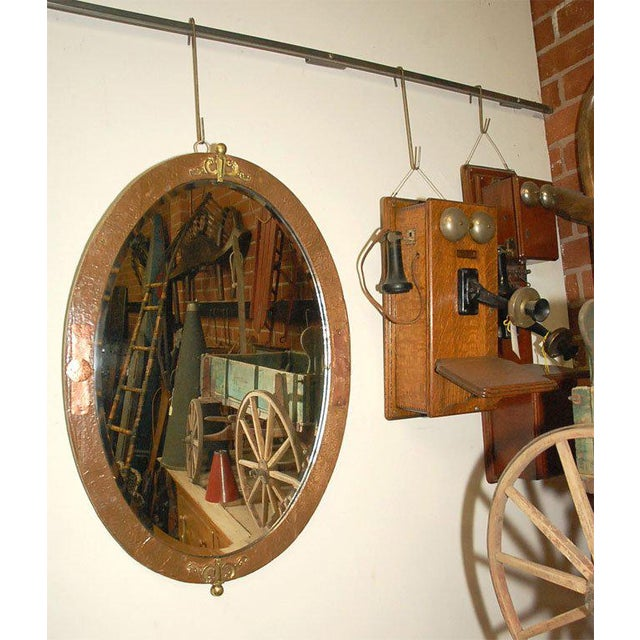 Oval Mirror in Copper and Brass Frame For Sale - Image 5 of 7