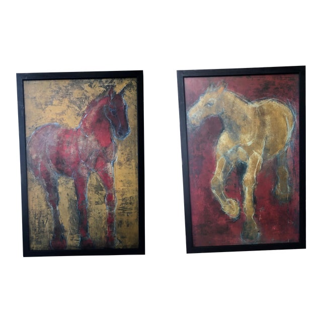 Figurative Reverse-Color Framed Hearting Horses Prints - a Pair For Sale