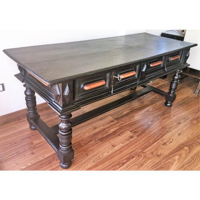 Walnut 18th Century Spanish Renaissance Walnut Refectory Table. Desk. Hall Table For Sale - Image 7 of 10