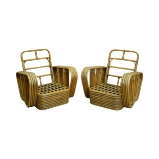 Paul Frankl Style Vintage Bamboo Rattan Lounge Chairs - A Pair