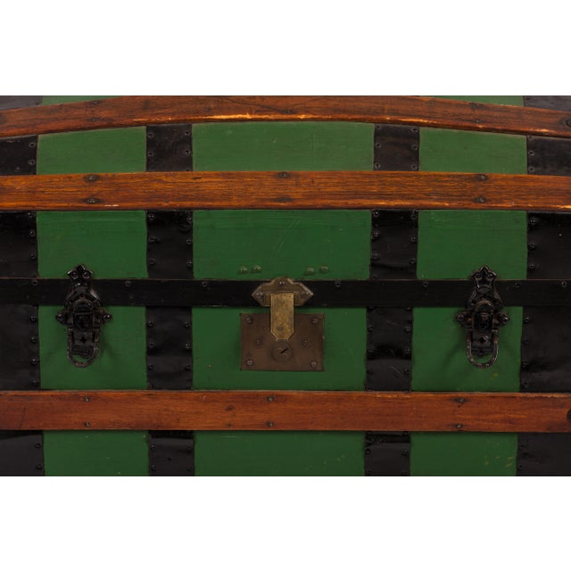 Early 20th Century Antique Green Dome Carriage Trunk For Sale - Image 5 of 13