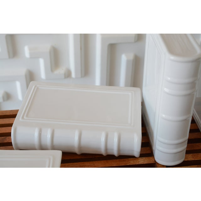 Contemporary Post Modern Ceramic White Book Sculptures - 6 Piece Set For Sale - Image 3 of 10