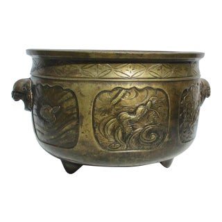 19th Century Japanese Bronze Hibachi Cachepot For Sale