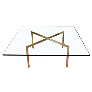 1970s Mid Century Modern Mies Van Der Rohe Knoll Barcelona Steel Coffee Table For Sale