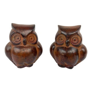 Mid Century Modern Ceramic Owls - a Pair For Sale