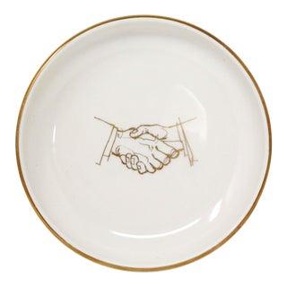 1970's Illustrated Gold Handshake Ivory Porcelain Catch-All Bowl For Sale