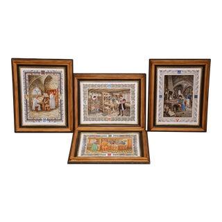 French Hand-Painted Porcelain Plaques Signed Pierre De Hugo - Set of 4 For Sale