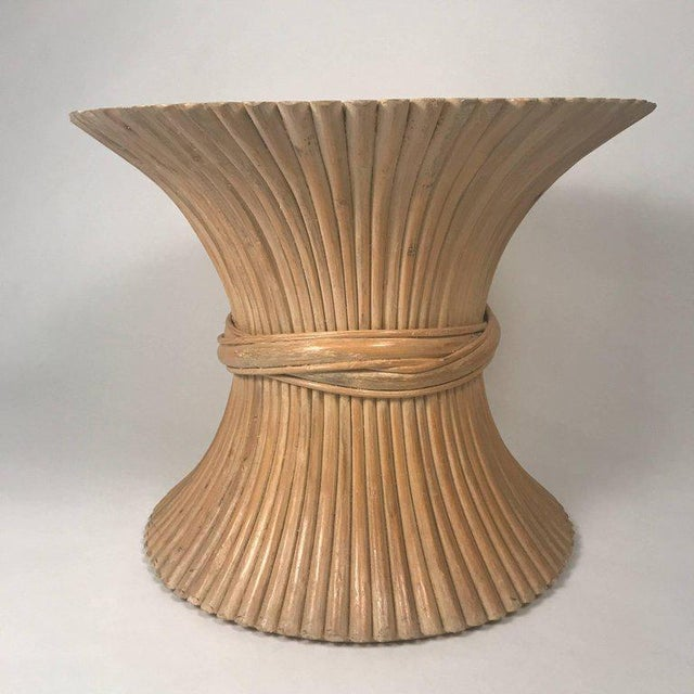 McGuire round sheaf of wheat bamboo table. Designed by the husband and wife team John and Elinor McGuire. Natural bamboo...