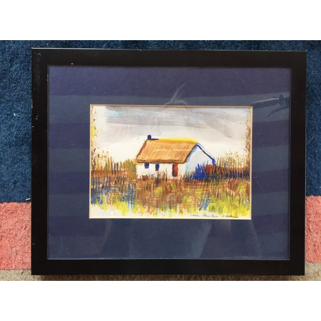 "Framed ""Casa Alem Tejo"" Watercolor Painting For Sale In Raleigh - Image 6 of 7"
