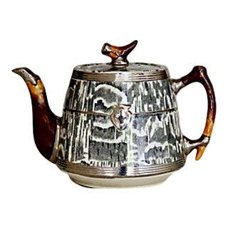 1930s Silver Shield Faux Bois Tea Pot For Sale