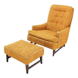 Vintage Mid Century Selig Lounge Chair and Matching Ottoman For Sale
