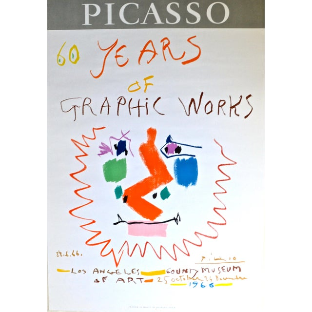 Abstract 1966 Pablo Picasso Exhibition Poster - Mourlot Lithograph For Sale - Image 3 of 8
