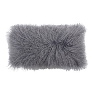 Tibetan Lamb Pillow in Gray For Sale