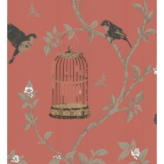 Nina Campbell Birdcage Walk Red & Black Wallpaper - 1 Double Roll For Sale