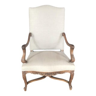 Late 19th Century Walnut Carved French Louis XV Armchair For Sale